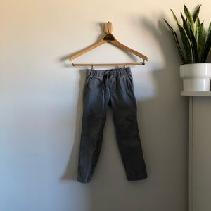 Gray Skinny Drawstring Pants